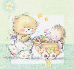 <3 Cuteness ~ Bear & Baby Carriage Pastel