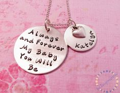 Mother Daughter Necklace: Hand Stamped Necklace, Mother & Daughter Jewelry, Personalized Jewelry, Mommy Necklace
