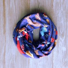 Woodland Infinity Scarf - Deer, Squirrel, Owl, Hedgehog, Butterfly, Sparrow