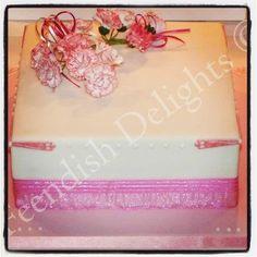 Birthday cake with handmade sugar paste carnations.  Find me on Facebook - Feendish Delights