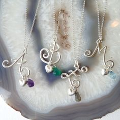 Handmade Happy Curly Initials in Sterling Silver, and gemstone drops can be added - amethyst, labradorite, green onyx, topaz
