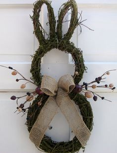 Primitive Country Easter Bunny Door Wreath with Berries, Eggs and a Natural Burlap Bow