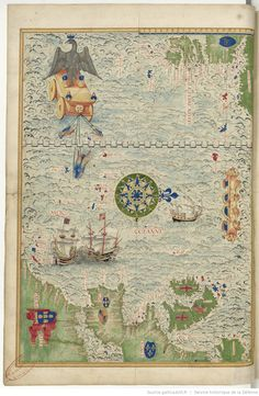Universal Cosmography from Guillaume Le Testu - 1555 - Newfoundland, Europe and Barbary Source : Bnf