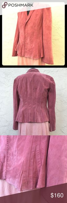 NEWPORT NEWS dusty rose suede blazer zip front NWT NEWPORT NEWS vintage dusty rose suede blazer hidden zip front NWT. Whipstitch edging. Figure flattering godet darts all around hem for flounce and feminine lines. hook & eye closure for sleek fit. Gorgeous and in amazing condition. Natural flaws to suede. A wee bit of fading at shoulder where it's been hung, but not detracting or distracting. Emmylou wants this for a cover shoot in the early 90s. Southwest meets Paris. Measurements to…