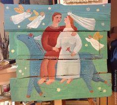 Купить Свадьба - картина, русский стиль, лошадка, шале, шкаф, современный стиль
