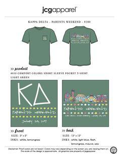 JCG Apparel : Custom Printed Apparel : Kappa Delta Parents Weekend T-Shirt #kappadelta #kd #parentsweekend #handdrawn #loveyamomanddad