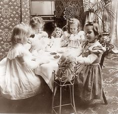 """Little girls having a tea party with their dolls - a vintage photograph. NOTE: This image is only available in the size (do not waste your money on the or """"Original"""" size, as they are still only when opened :) Vintage Children Photos, Vintage Pictures, Old Pictures, Vintage Images, Old Photos, Antique Photos, Vintage Photographs, Vintage Tea, Vintage Love"""