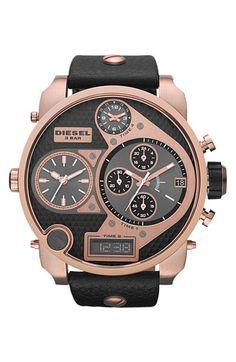 DIESEL 'Mr. Daddy' Leather Strap Watch, 58mm