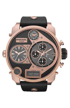 DIESEL® 'Mr. Daddy' Leather Strap Watch, 58mm | Nordstrom