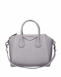 Antigona Small Sugar Goatskin Satchel Bag, Light Gray by Givenchy at Bergdorf Goodman.