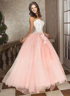 Abiballkleider - $173.27 - Duchesse-Linie Trägerlos Herzausschnitt Bodenlang Tüll Abiballkleid mit Perlenstickerei Blumen (01805021555)