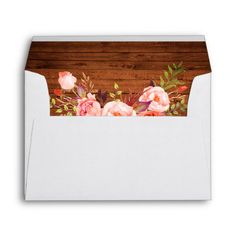 Shop Rustic Wood Pink Floral Invitation Envelope created by SugarandSpicePaperCo. Wedding Sand, Rustic Wedding, Wedding Summer, Wedding Ideas, Floral Wedding, Wedding Bride, Wedding Gifts, Invitation Envelopes, Floral Invitation