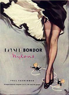 Ad. for Lingerie, 1950s., Nylons Kayser Bondor.