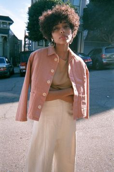 The perfect little peach crop jacket and culottes. Gold hoop earrings. All good.