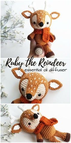 Ruby the Reindeer essential oil diffuser amigurumi crocheted stuffed toy for a child. Such a great gift idea! Crochet Pattern Free, Crochet Patterns Amigurumi, Crochet Toys, Knitting Patterns, Knitting Ideas, Crochet Crafts, Crochet Ideas, Diy Crafts, Crochet Easter