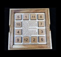 An extremely clever puzzle that at first glance might not seem to fit in an Escape Room. Once you start to understand it a little more; however, you will see it has a lot of Escape Room potential. For each solution there is a unique combination of numbers which occupy the corner positions. These numbers can then be used for a code or to help solve another part of your Escape Room.  The Fable:  In the old west,  the 78 soldiers manning the parapets at Ft. Fearless were surrounded by 119…