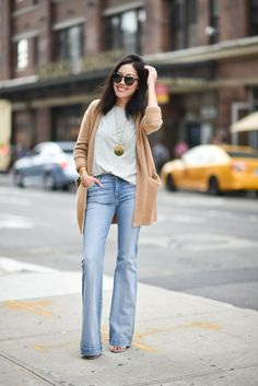 jeans outfit/Though I typically don't choose wide leg denim I love the slim line of these with the cardi.