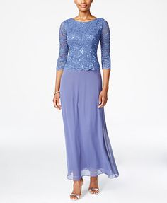 Alex Evenings Petite Three-Quarter-Sleeve Sequined Lace Gown | macys.com