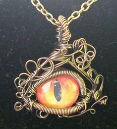 Wrath necklace wire work necklace Dragon eye by AlternativeFinch