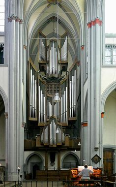 One of the largest pipe displays, certainly in a modern organ. Organ in the Dom Altenberg, in North Rhine-Westphalia, Germany. Formerly a Cistercian monastery and now an interdenominational church shared by Catholic and Protestant congregations. The organ was built originally in 1980 by Klais Orgelbau of Bonn, and rebuilt in 2007. It has 4 manuals and has 6,300 pipes.