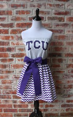 Texas Christian University TCU Horned Frogs Game Day Strapless Dress - Size Small by jillbenimble on Etsy