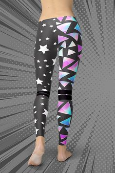 Dare to be you! The new Stars 'n' Triangles Leggings are squat-proof, non see-through and super comfortable to wear. Handmade quality you can feel! Gym Leggings, Tight Leggings, New Star, Sport Outfits, Activewear, Hug, Looks Great, How To Make, How To Wear