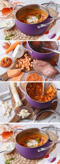 Hřejivá hustá polévka z červené čočky a batátů. Na talíři přidejte zakysanou smetanu a křen a uvidíte, že i odpůrci zeleniny si rádi přidají. Soups, Curry, Ethnic Recipes, Food, Curries, Essen, Soup, Meals, Yemek