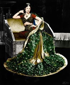 Hedy Lamarr, wearing a 'peacock dress' in a promotional photo for the movie 'Samson and Delilah' (1949)
