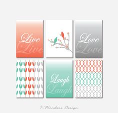 Inspirational prints Live Love Laugh //  Wall of Inspiration // SET of (6) - 5 x 7  OR 8 x 10 // Modern Home Decor // Coral, Teal, Gray on Etsy, $36.00