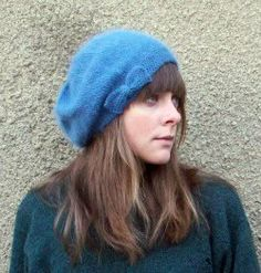 forty percent fringe : sixty percent face: angora beret knitting pattern
