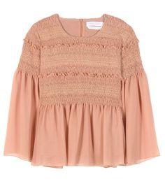 SEE BY CHLOÉ Smocked Cotton Blouse. #seebychloé #cloth #tops