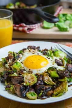 Brussels Sprout and Mushroom Hash = Breakfast Perfection! I'll be adding bacon or pancetta to my rendition:)