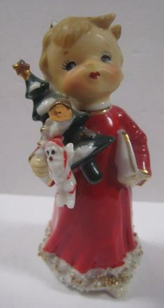 Vtg ANGEL Figurine SPAGHETTI TRIM Mid-Century Holding Tree Presents Christmas