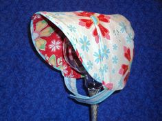Reversible Baby Bonnet Floral with Chin Straps by AdorableandCute, $26.00