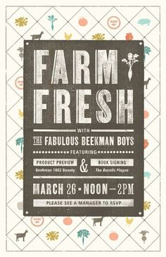 I LOVE this typography. Especially for my farm to table Flyer. {hate the white diamond background, just like the middle part}