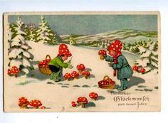 Happy new year! vintage postcard