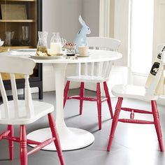 DIY: like the idea of painting chairs neutral on top and bright on the bottom.