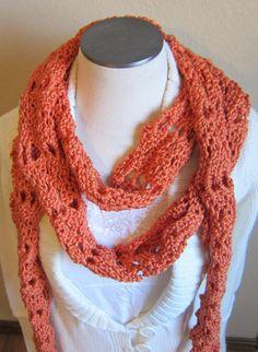 Crochet Scarf Extra Long Pumpkin Skinny Scarf by Kitkateden, $18.00