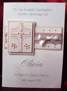 Personalised Handmade Christening Card Girl Granddaughter Goddaughter (1539Pink) in Home, Furniture & DIY, Celebrations & Occasions, Cards & Stationery | eBay!