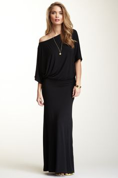 Go Couture Boatneck Dolman Sleeve Maxi Dress <3