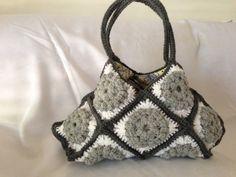 Crocheted Granny Square Handbag  Grey and White  by sjsmithcomau