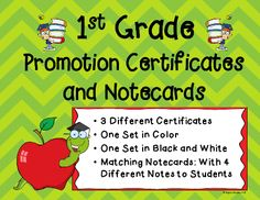 Your students have accomplished so much this year. It's time to present them with these exciting certificates, promoting them to 2nd grade. This product comes with matching notecards to give to your students. These unique and fun certificates and notecards are guaranteed to become part of a parent's scrapbook or memory box for years to come.