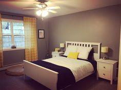 Hemnes Bedroom - Navy, Yellow, Grey