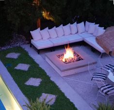 Gravel area beside Pool for a Fire Pit and Seating, with an Eating area nearby. Perfect layout for outdoor space Outdoor Areas, Outdoor Rooms, Outdoor Living, Outdoor Fire Pits, Patio Design, Exterior Design, Garden Design, Backyard Patio, Backyard Landscaping