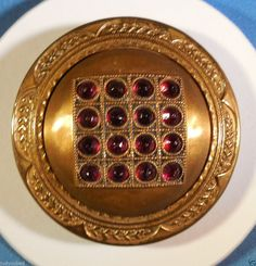 Vintage Extra Large Jeweled Button, Square & Round!! Red Paste.