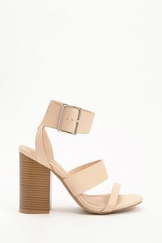 19e1a1cfb3 Faux Leather Ankle-Strap Block Heels Spring Sandals, Nude Sandals, Ankle  Strap Block