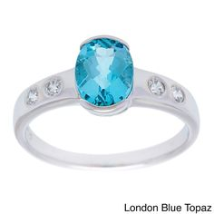 Oravo Sterling Silver Oval-cut Gemstone Solitaire and Cubic Zirconia Ring (London Blue Topaz Size 9), Women's