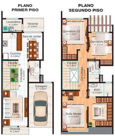Floor plan of the ground floor and above: townhouse Nova Iguaçu Simple House Plans, Dream House Plans, Modern House Plans, House Floor Plans, Indian House Plans, Narrow House, Indian Homes, Apartment Plans, Home Design Plans