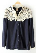 Navy Floral Lace Cape Collar Long Sleeve Blouse $30.32