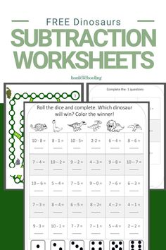 Its time to help your kids work on their subtraction skills with these free dinosaurs subtraction worksheets for kindergarten